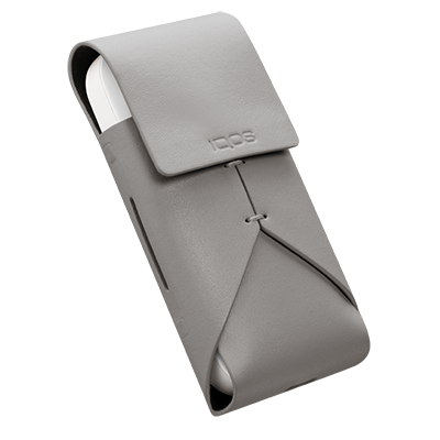 Leather Pouch - Grey, Grey, large